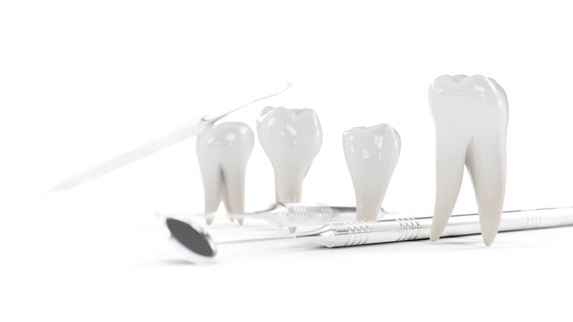 Crowns in a row with dental instrument 33330